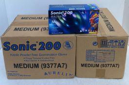 20 x boxes of 200 x Aurelia Sonic 200 Nitrile Powder Free Examination Gloves - Size Medium - Expiry