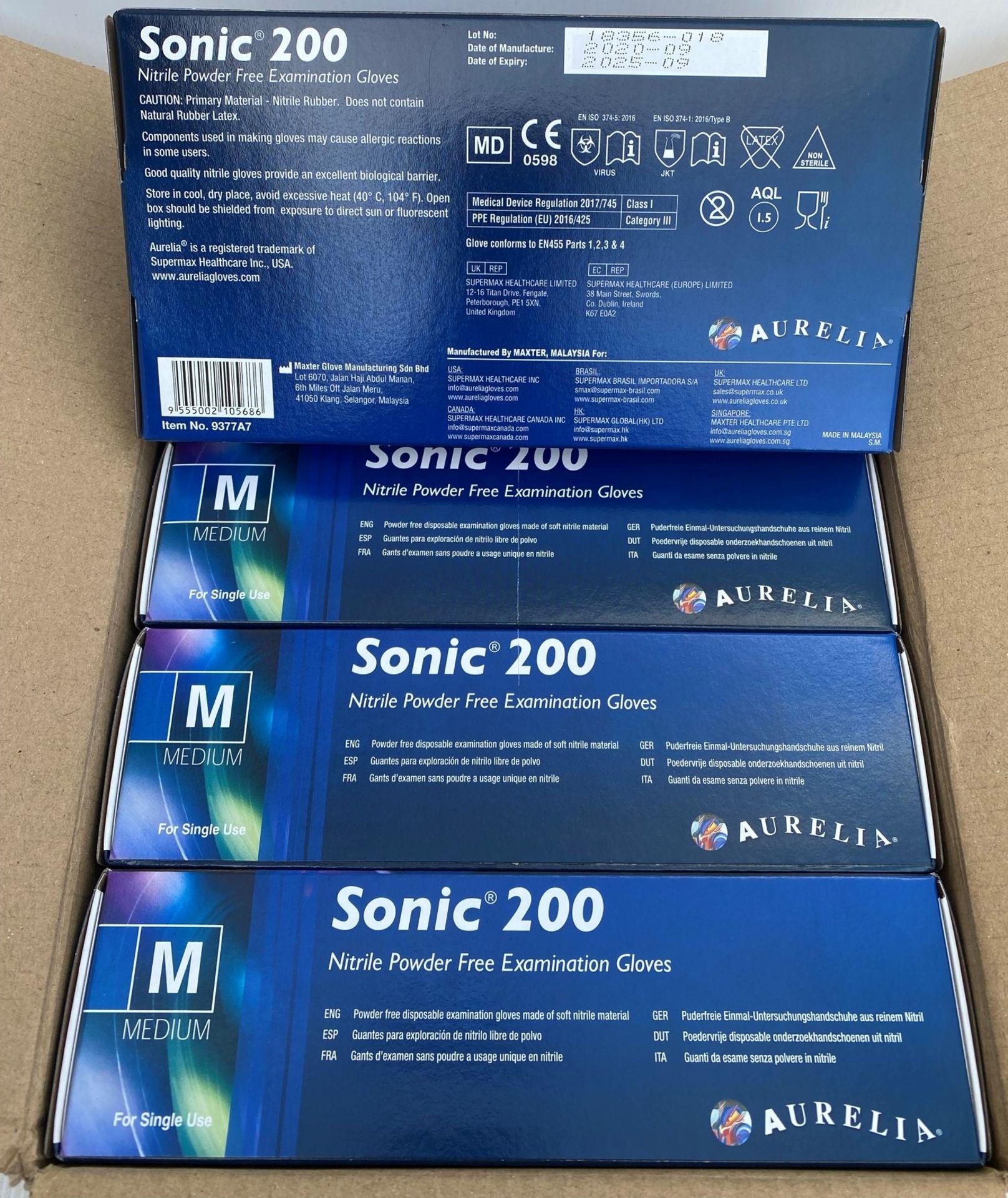 10 x boxes of 200 x Aurelia Sonic 200 Nitrile Powder Free Examination Gloves - Size Medium - Expiry - Image 2 of 2