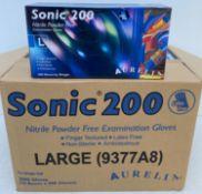 10 x boxes of 200 x Aurelia Sonic 200 Nitrile Powder Free Examination Gloves - Size Large - Expiry