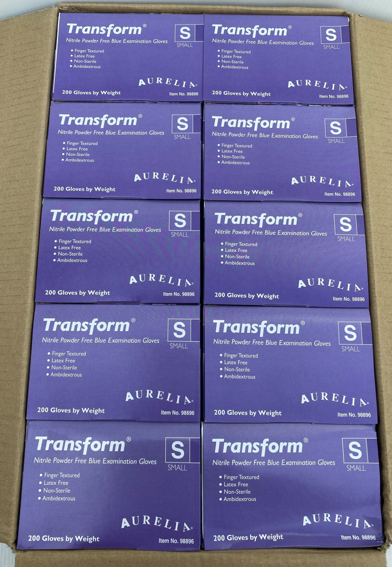 10 x boxes of 200 x Aurelia Transform Nitrile Powder Free Blue Examination Gloves - Size Small - - Image 2 of 4