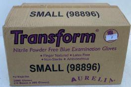 10 x boxes of 200 x Aurelia Transform Nitrile Powder Free Blue Examination Gloves - Size Small -