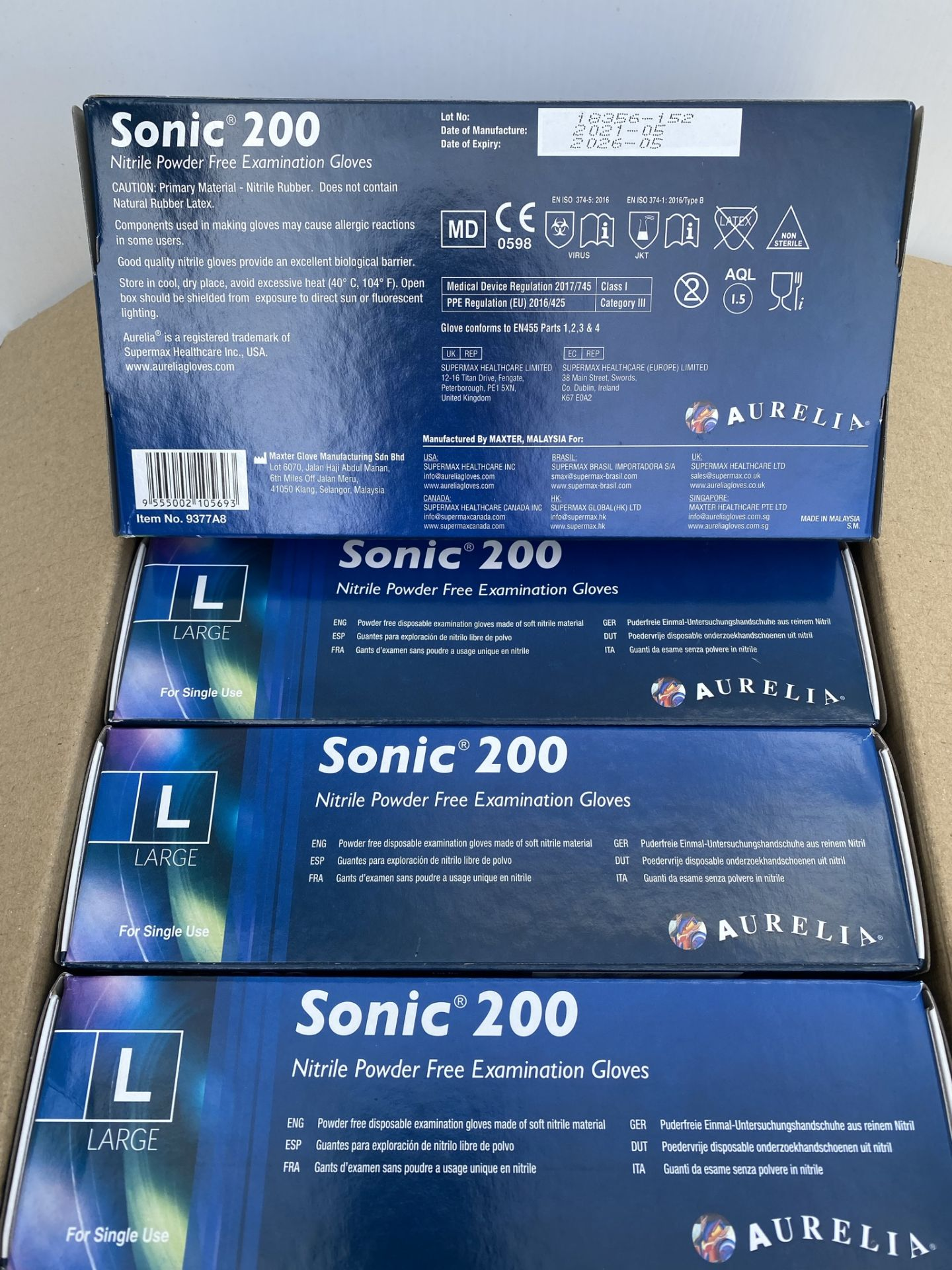 10 x boxes of 200 x Aurelia Sonic 200 Nitrile Powder Free Examination Gloves - Size Large - Expiry - Image 2 of 2