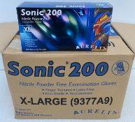 10 x boxes of 200 x Aurelia Sonic 200 Nitrile Powder Free Examination Gloves - Size Extra Large -