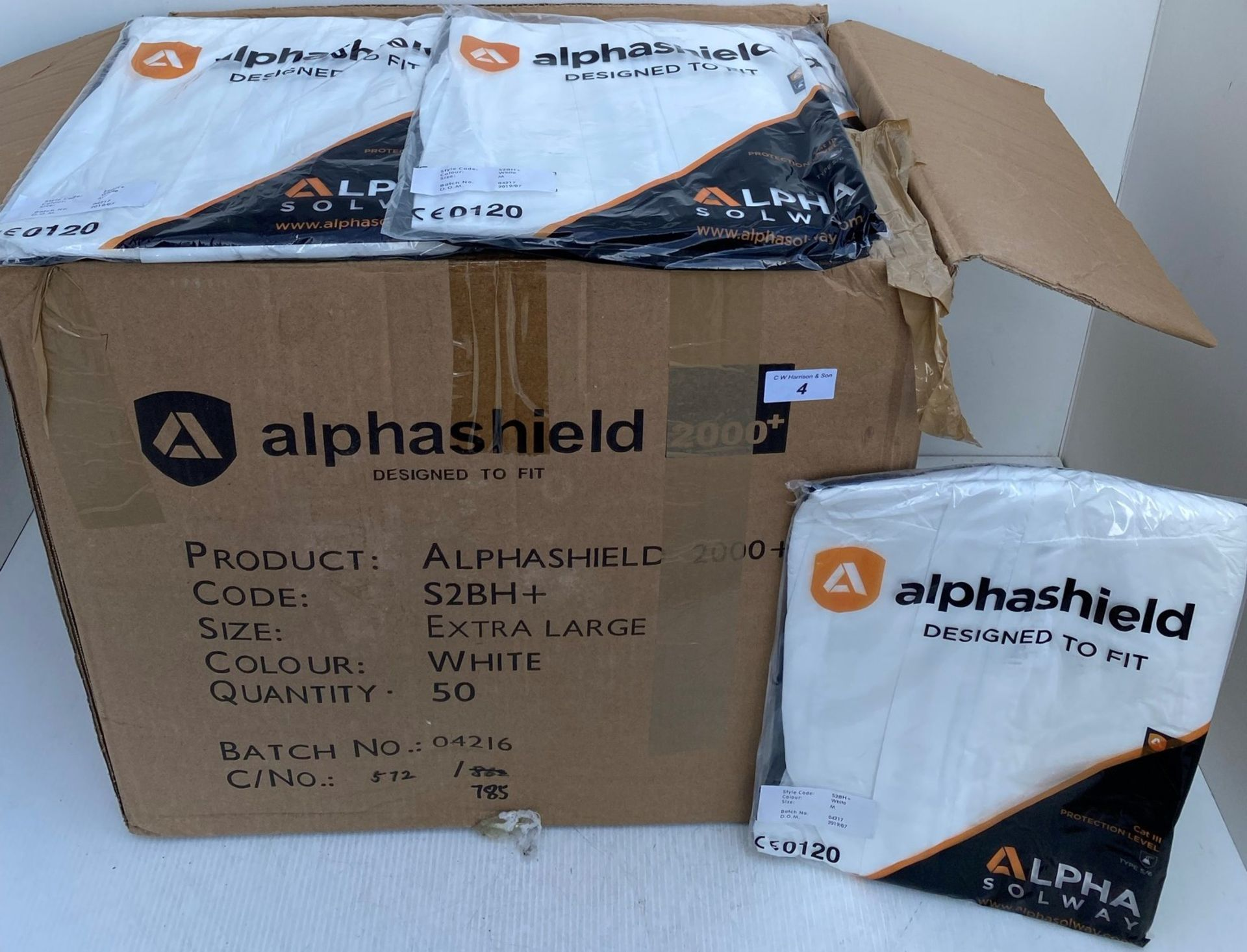 50 x Alpha Solway - Alphashield 2000+ protective S2BH+ white oversuits - Assorted sizes Medium, - Image 2 of 3