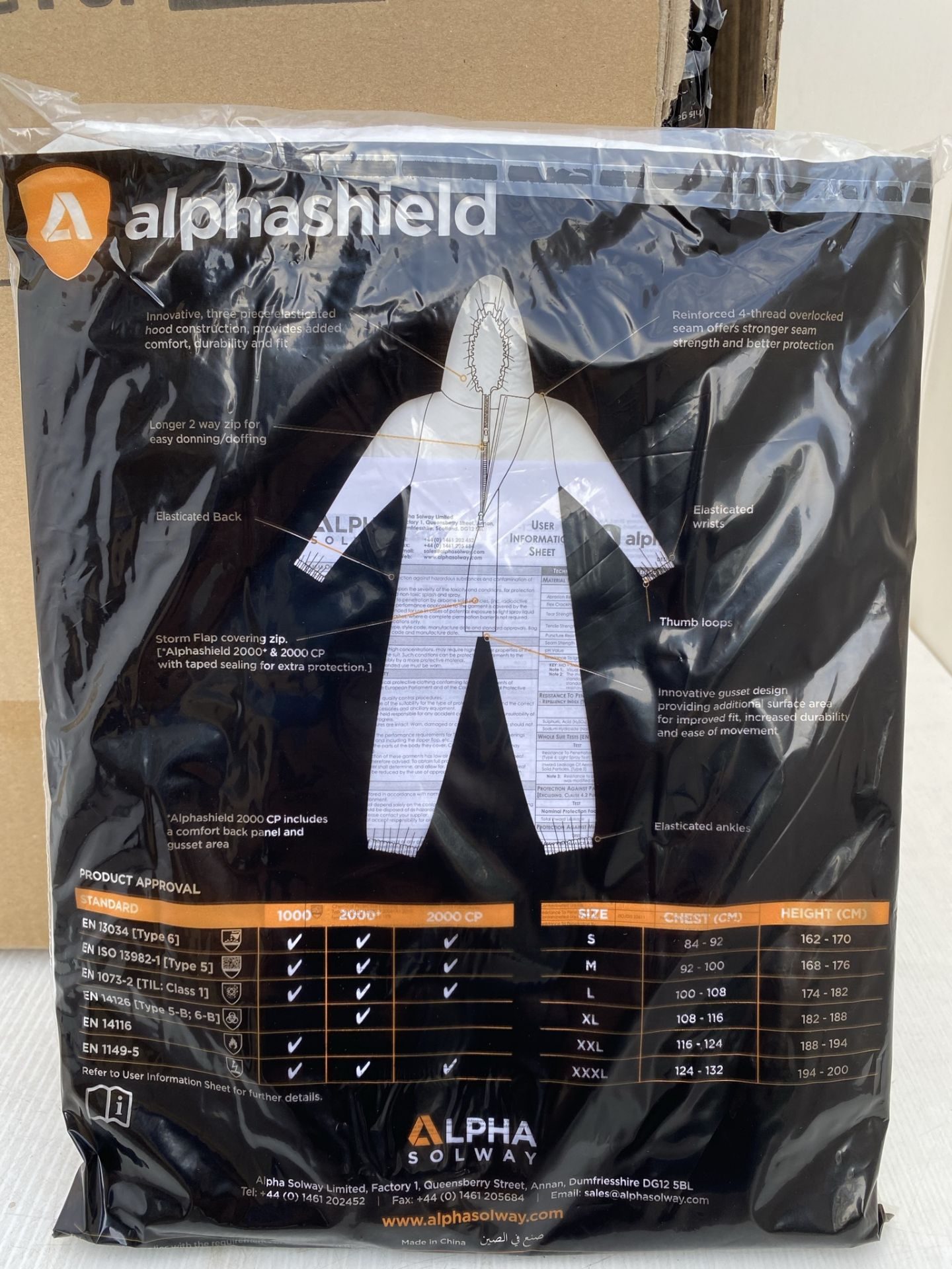 50 x Alpha Solway - Alphashield 2000+ protective S2BH+ white oversuits - Assorted sizes Medium, - Image 3 of 3