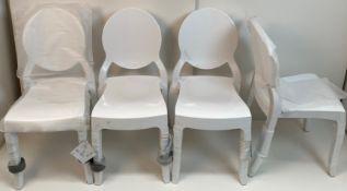 4 x Siesta Elizabeth Glossy White Stacking Chairs - (Boxed)