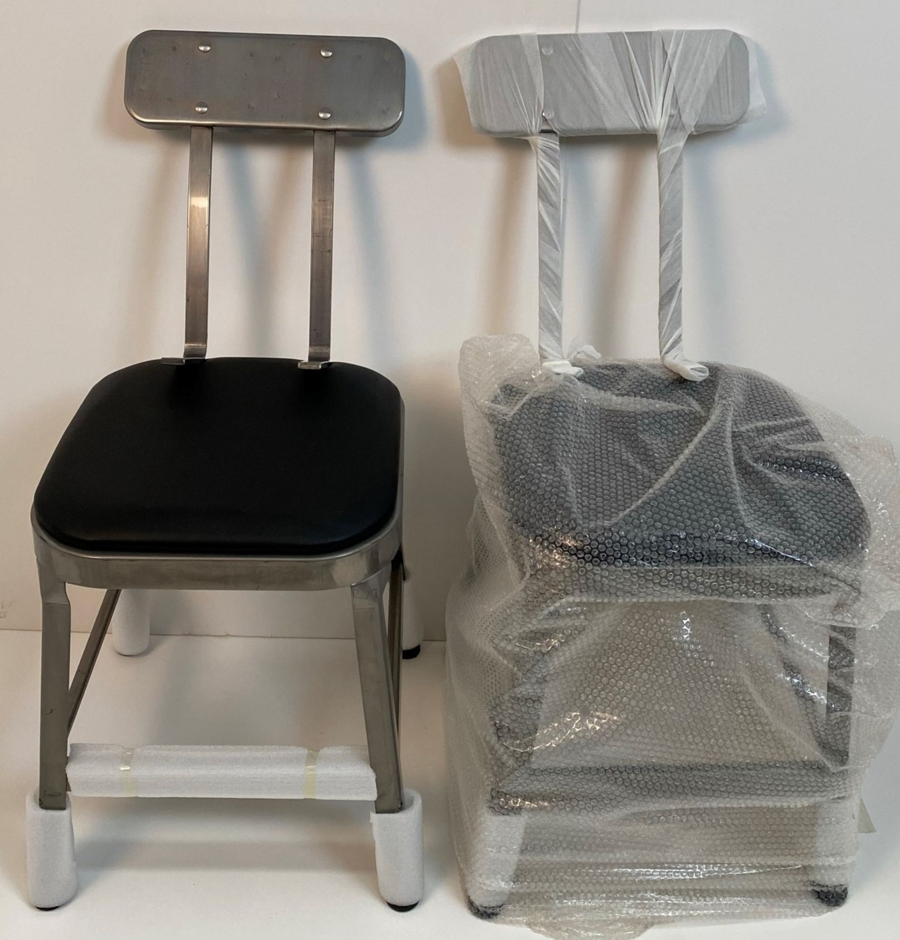 2 x Calypso Brushed Transparent Finish Metal Framed Bar Stools/Dining Chairs with Black Pad and