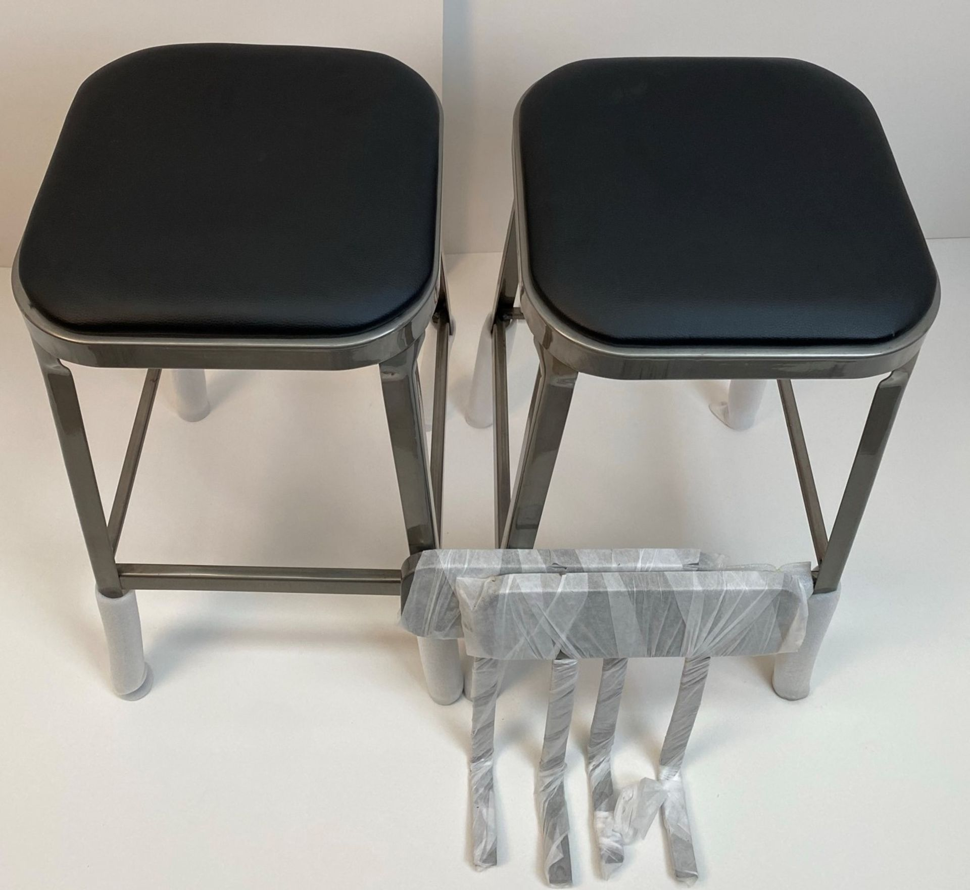 2 x Calypso Brushed Transparent Finish Metal Framed High Bar Stools with Black Pad and Optional - Image 2 of 2
