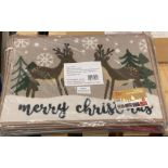 16 x Washable Christmas Doormats - 40cm x 58cm - sealed pack contains 4 different designs