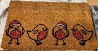 6 x Christmas Robin Coir Doormats