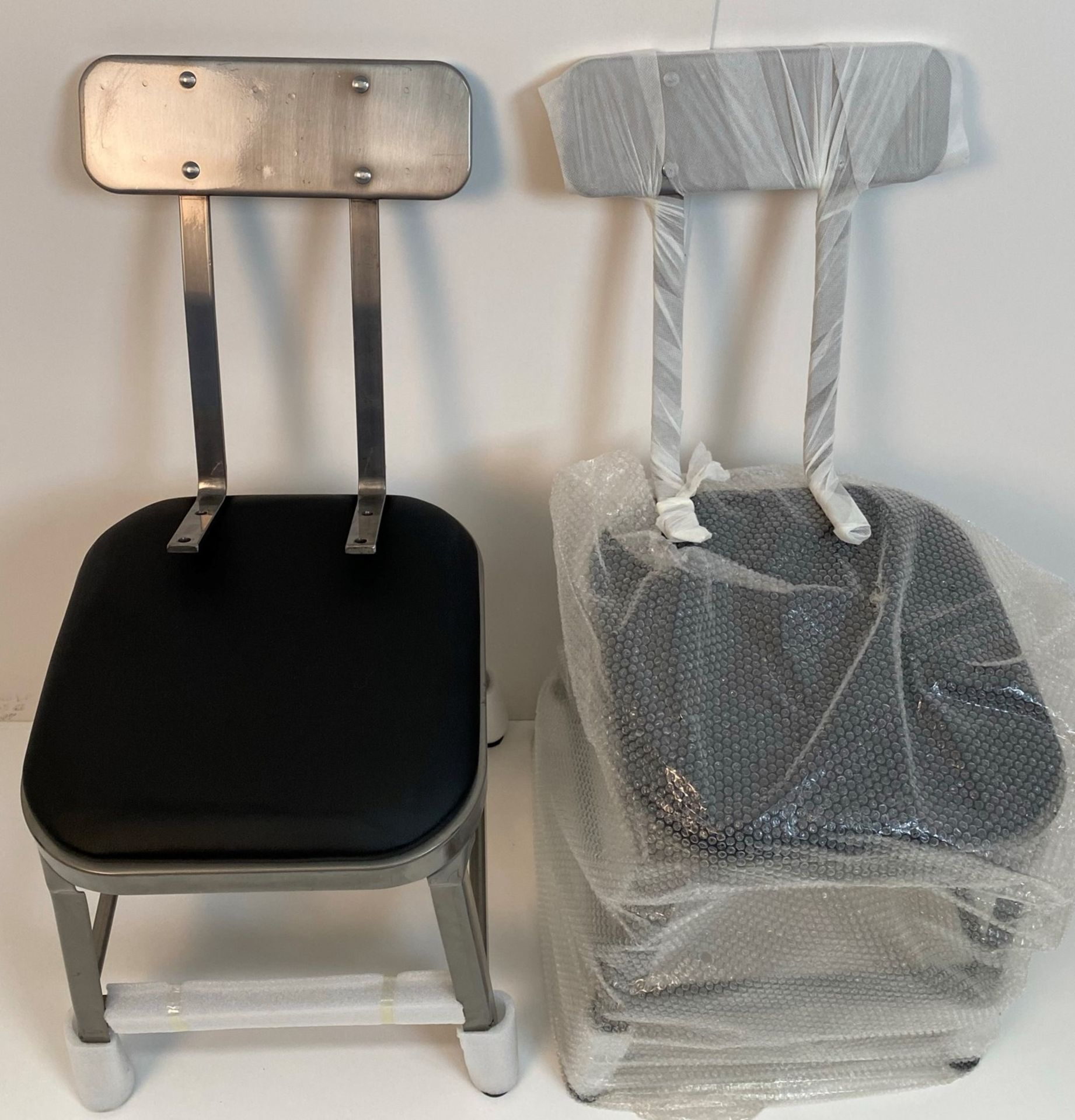 2 x Calypso Brushed Transparent Finish Metal Framed Bar Stools/Dining Chairs with Black Pad and - Image 2 of 2