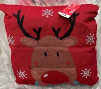 48 x George Home - Rudolph Tapestry Reindeer Christmas Cushions - 38 x 38cm - (24 x packs of 2)