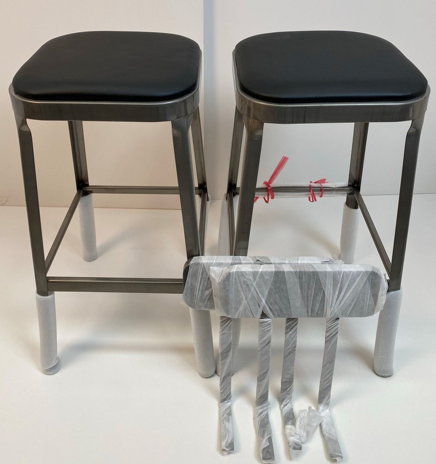 2 x Calypso Brushed Transparent Finish Metal Framed High Bar Stools with Black Pad and Optional
