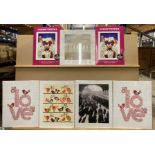 5 x small unframed prints and two packs of eight prints by Osamu Tezuka