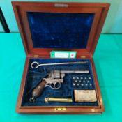 A scarce twelve shot 7mm pin fire revolver marked Lefaucheux,