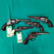 Five various percussion revolvers including a Manhattan .