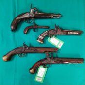 Five various single shot pistols, one Flintlock,