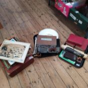 A large mixed lot including six Dickens novels, 1970's 'Sounds' pop papers, leather attache case,