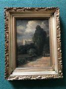 A framed oil on board of Framlingham Castle attributed to John Moore of Ipswich 1820-1902,