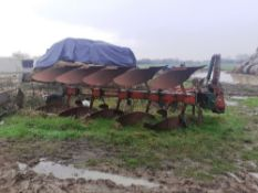 Kverneland 5 furrow vari-width plough and various spare parts. Stored near Bungay, Suffolk.