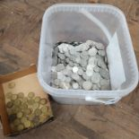 A tub of 20th Century silver coins all post WWII together with a selection of threepenny bits