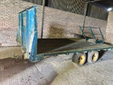 Flat bed trailer - 4.2m c/w steps and light board. Stored Chatteris, Cambridgeshire.