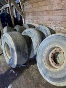 8 x 18R19.5 Tyres and Wheels - were previously on trailers. Stored near Chatteris, Cambridgeshire.