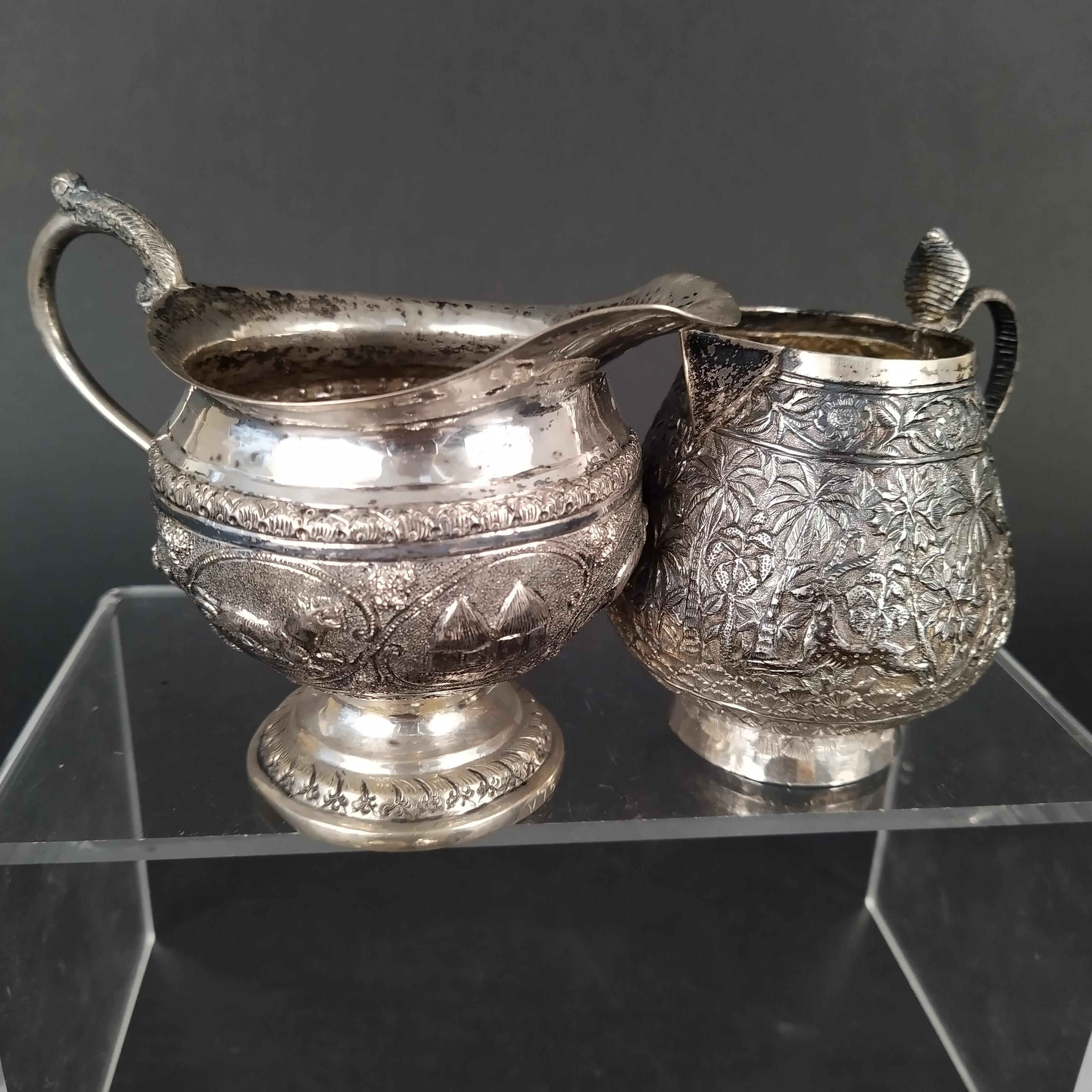 A mixed lot of Indian white metal items including jugs, - Image 3 of 3