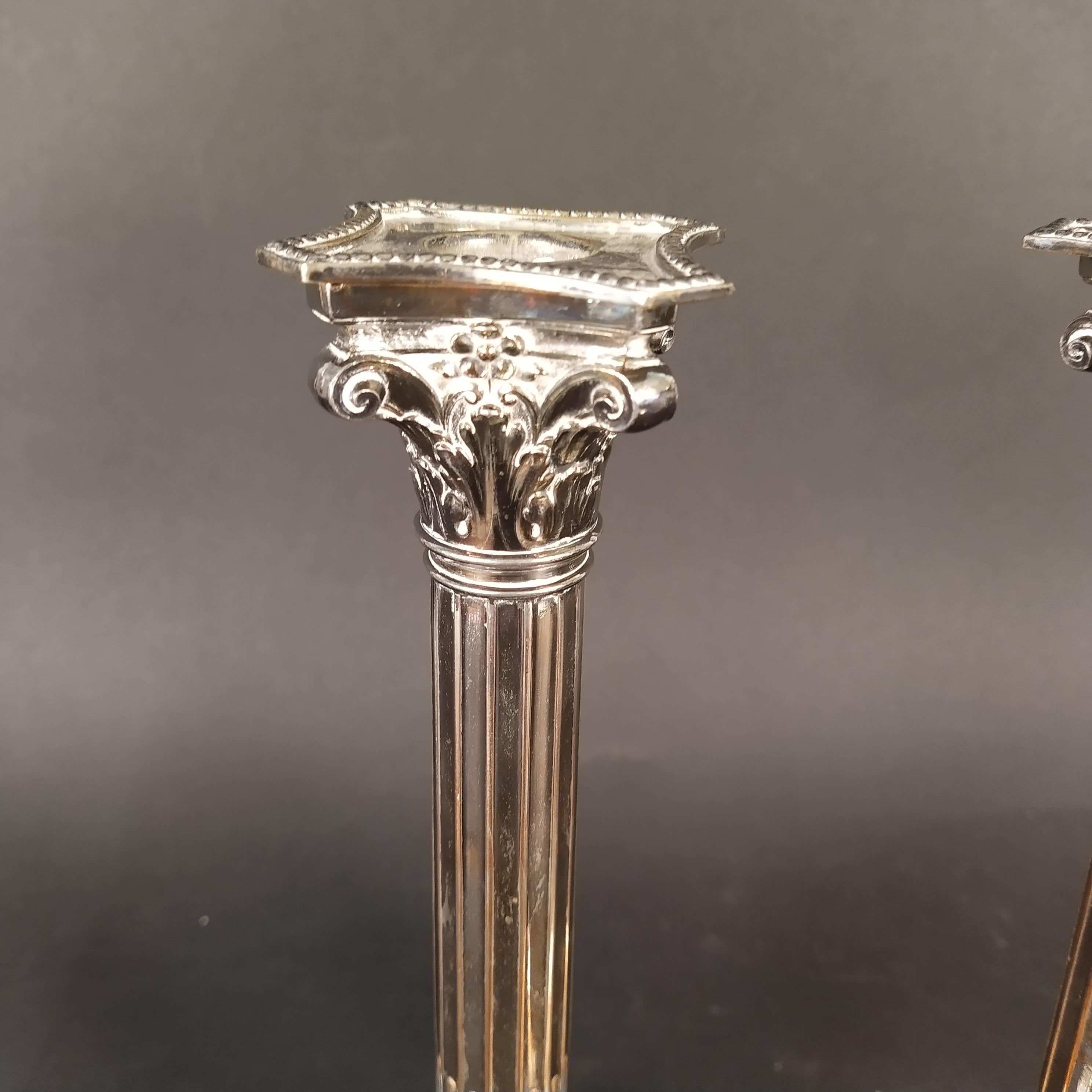 A pair of 19th Century Sheffield plated Corinthian column candlesticks with fluted stems, - Image 2 of 3