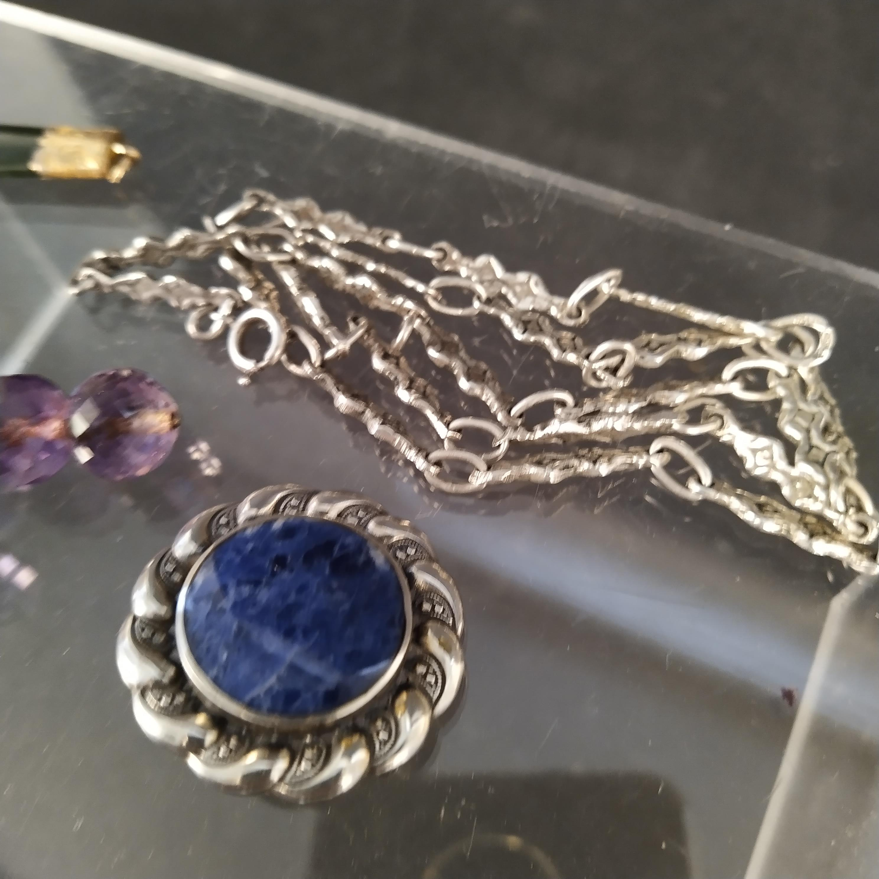 A mixed lot including an amethyst bead cross, ornate continental silver necklace, - Image 3 of 4