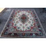 "A cream ground wool carpet by ""Kashmir"","