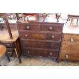 A Victorian mahogany five drawer chest