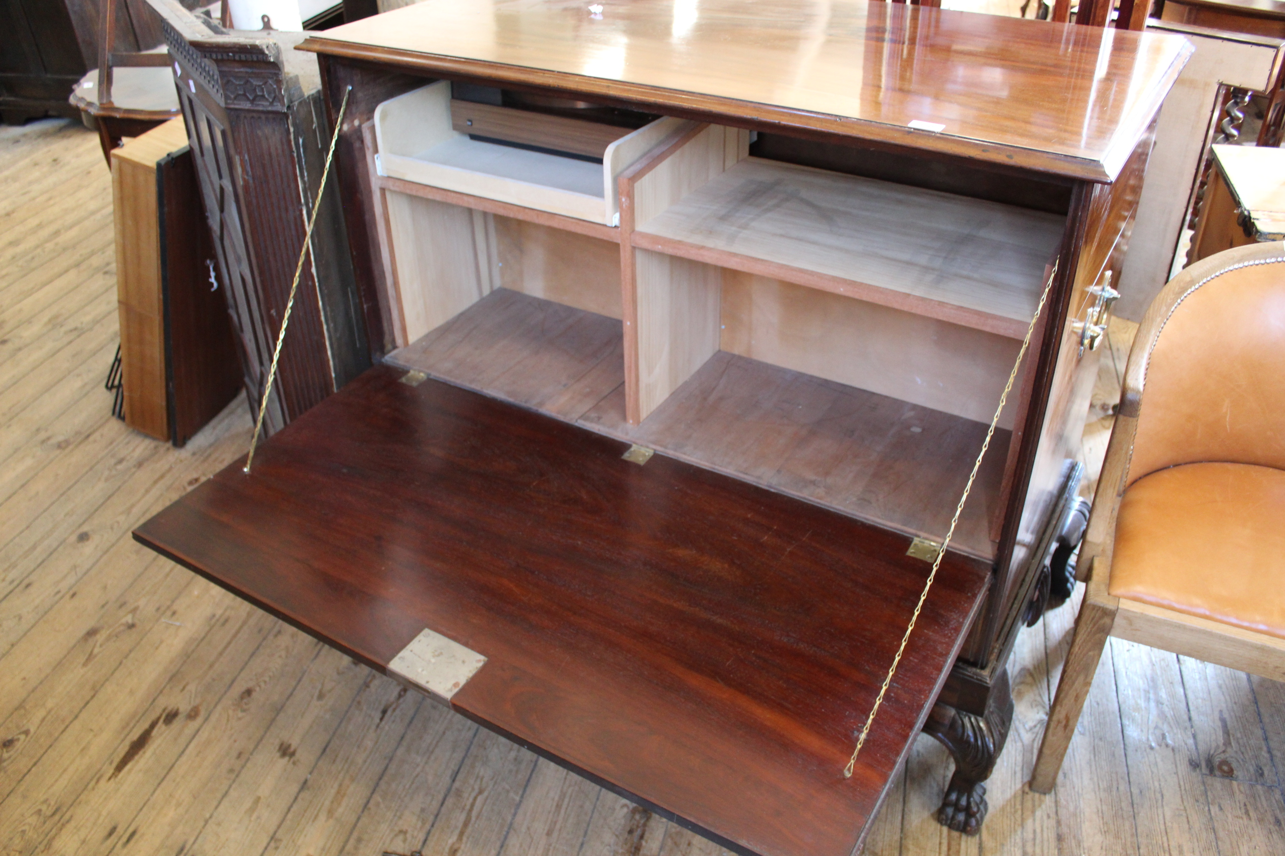 A mid 18th Century mahogany mule chest on cabriole leg stand (now converted to hifi cabinet) - Image 2 of 2