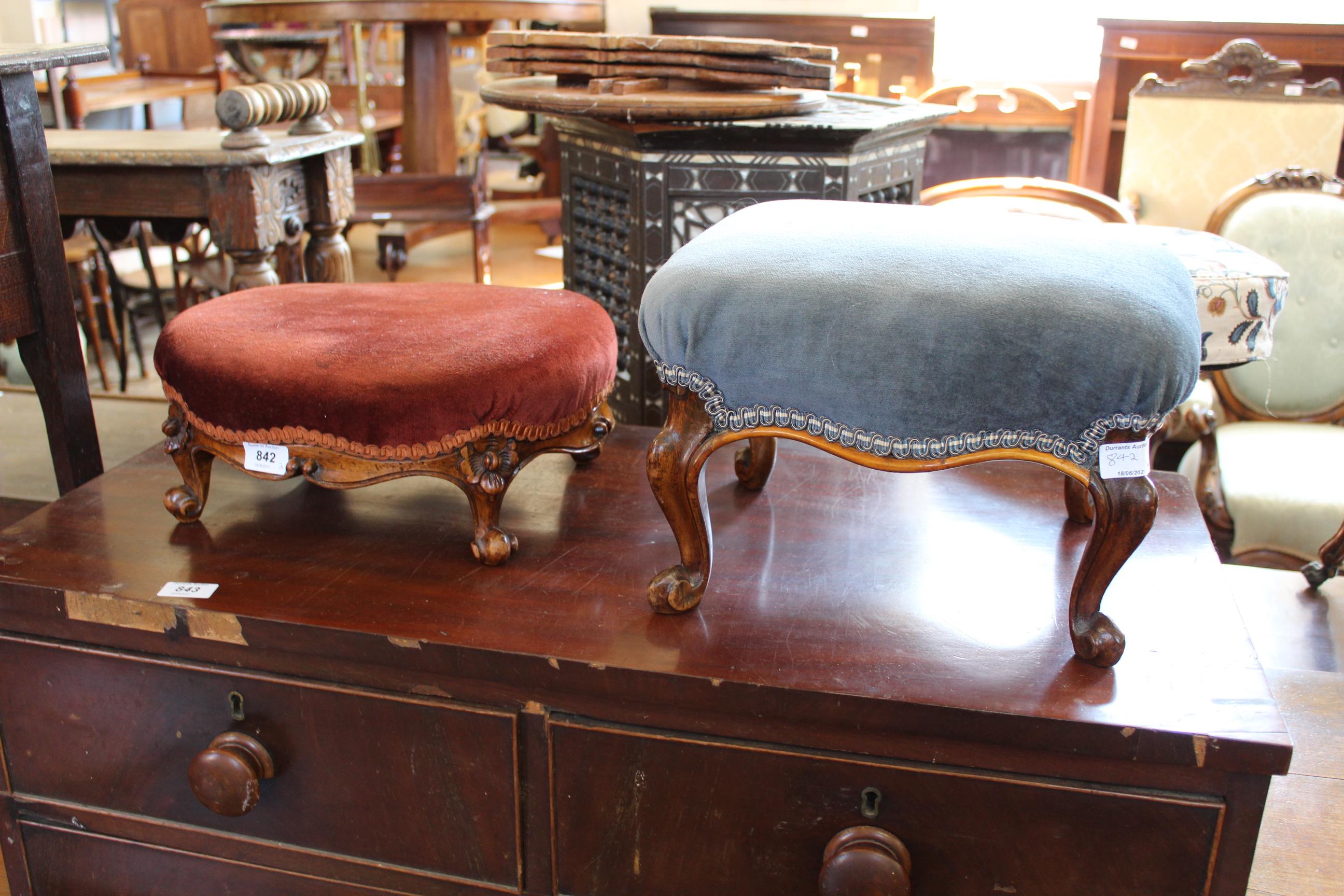 Two cabriole leg walnut foot stools c.