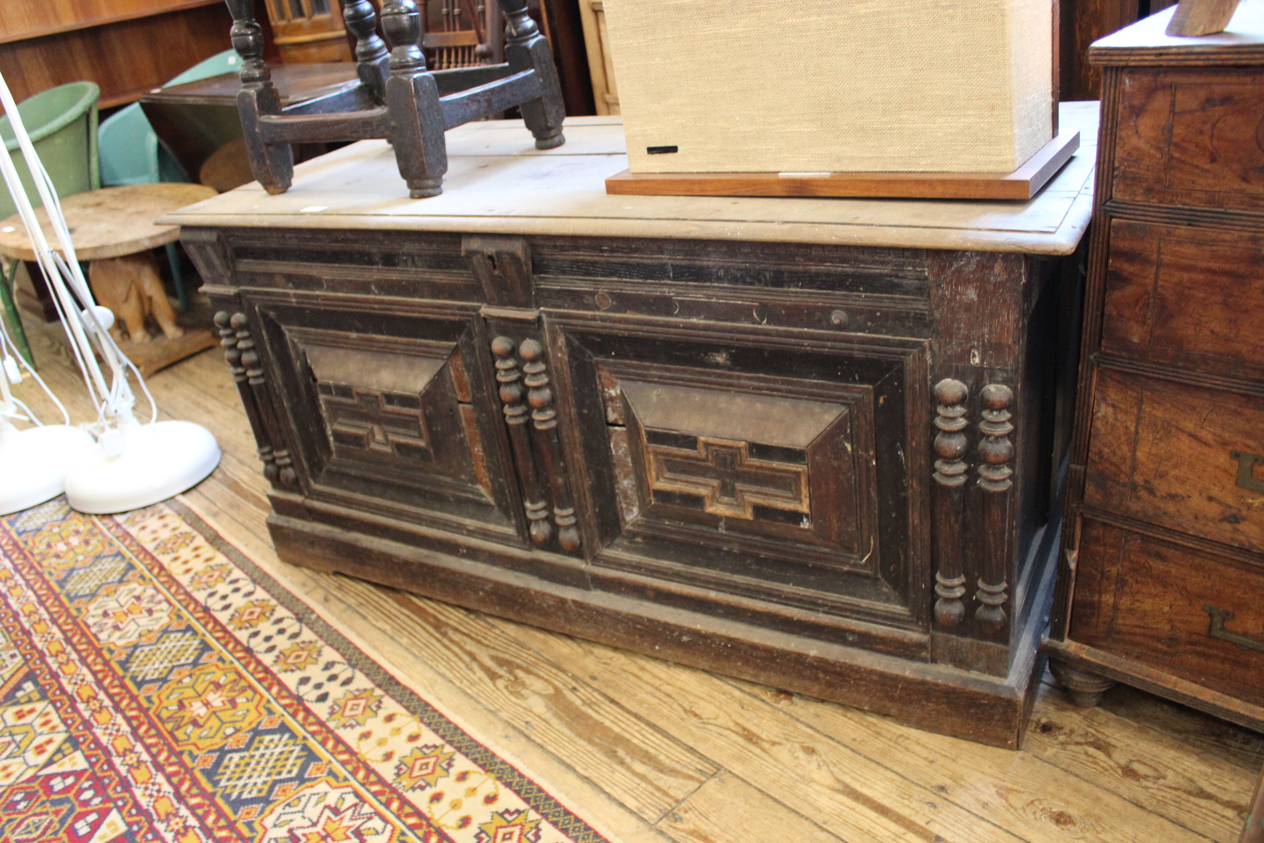 A late 18th Century carved oak continental coffer