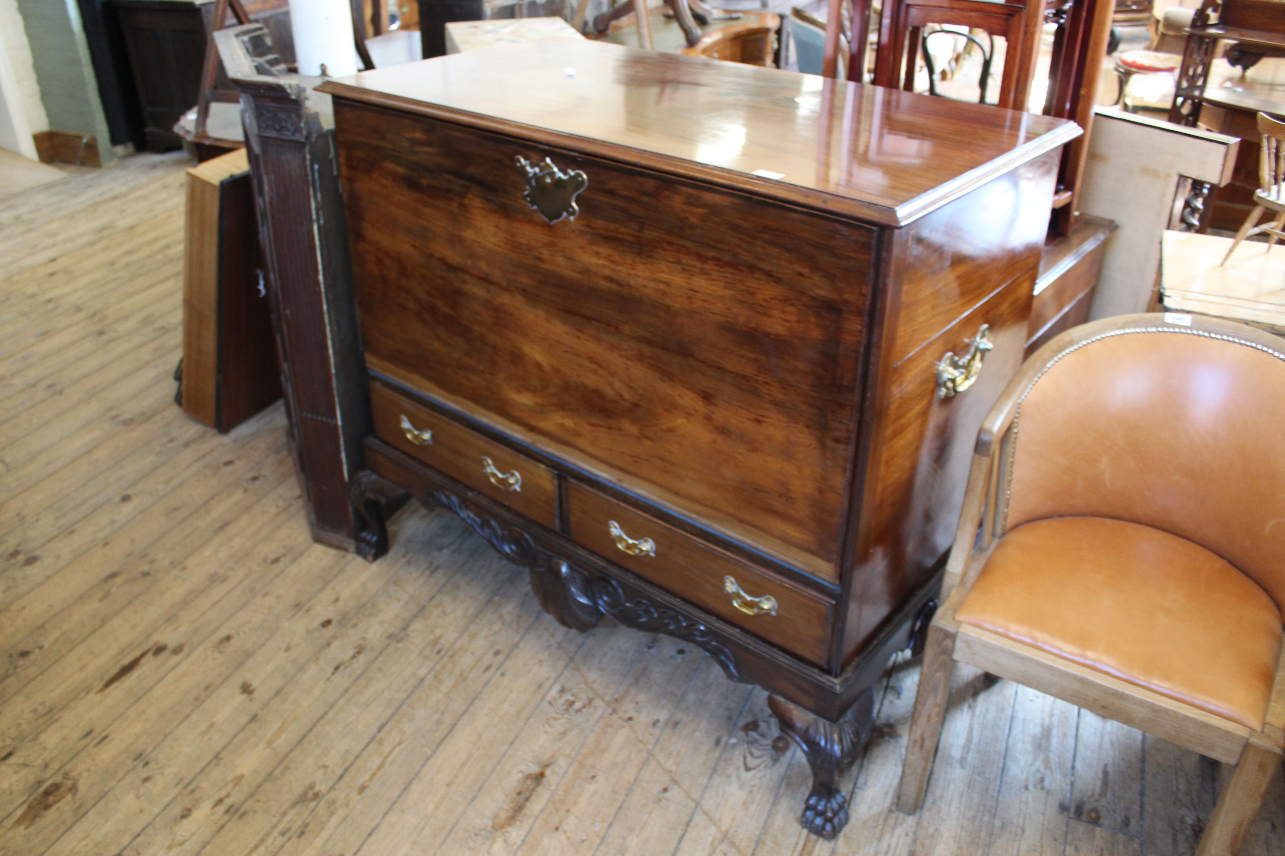 A mid 18th Century mahogany mule chest on cabriole leg stand (now converted to hifi cabinet)