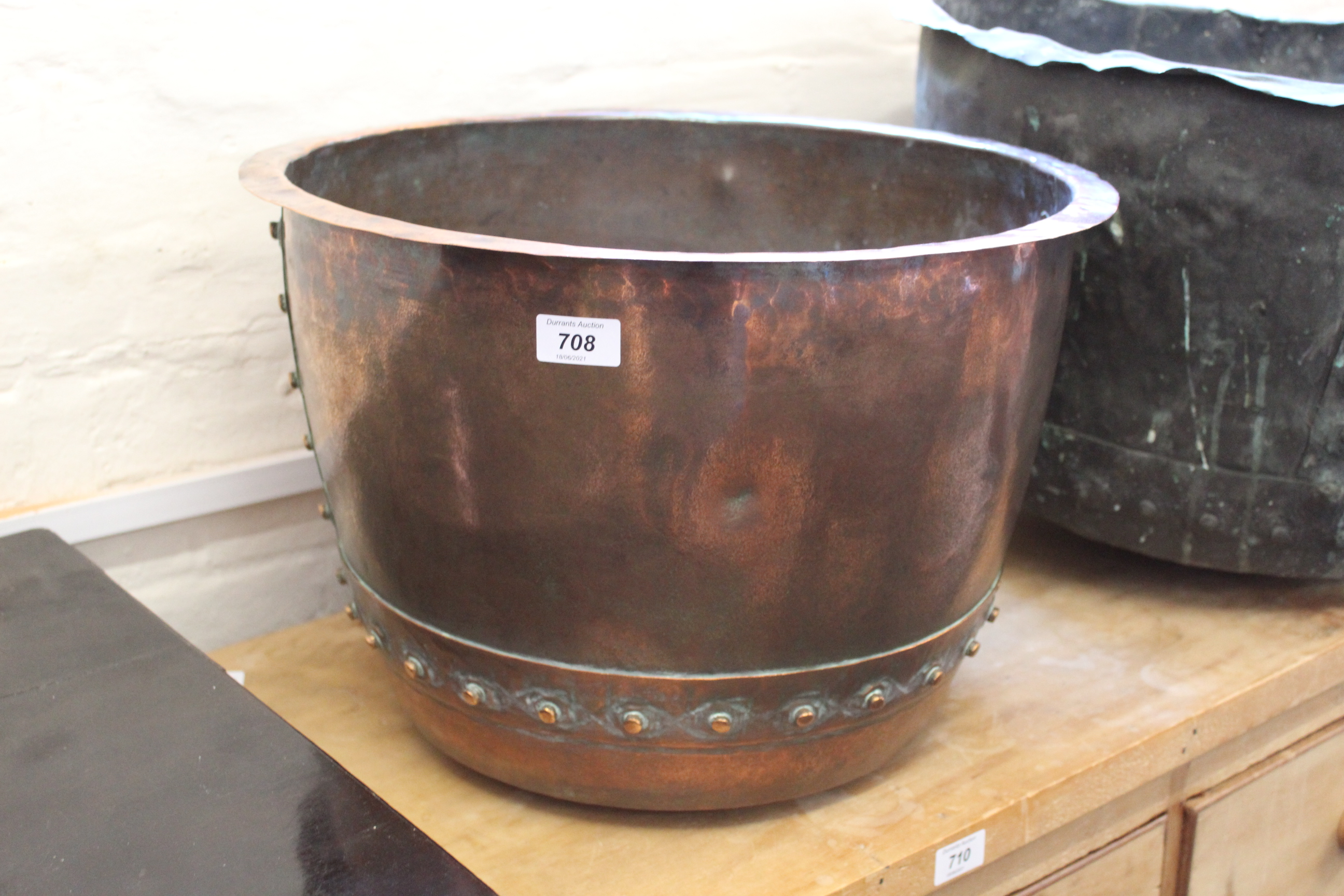 A 19th Century copper riveted pail,