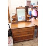An Edwardian mahogany three drawer dressing chest