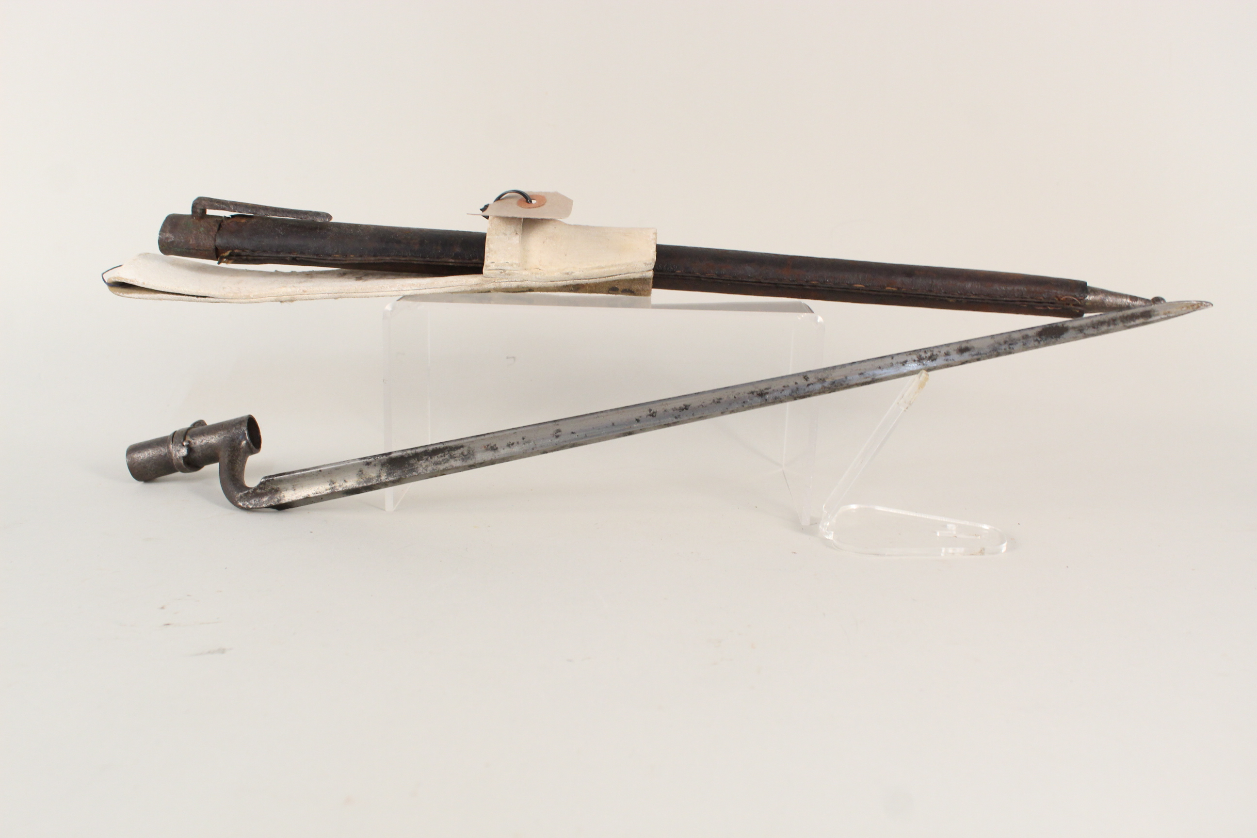 A socket bayonet with scabbard (scabbard as found) and a white buff frog (possibly continental) - Image 3 of 4