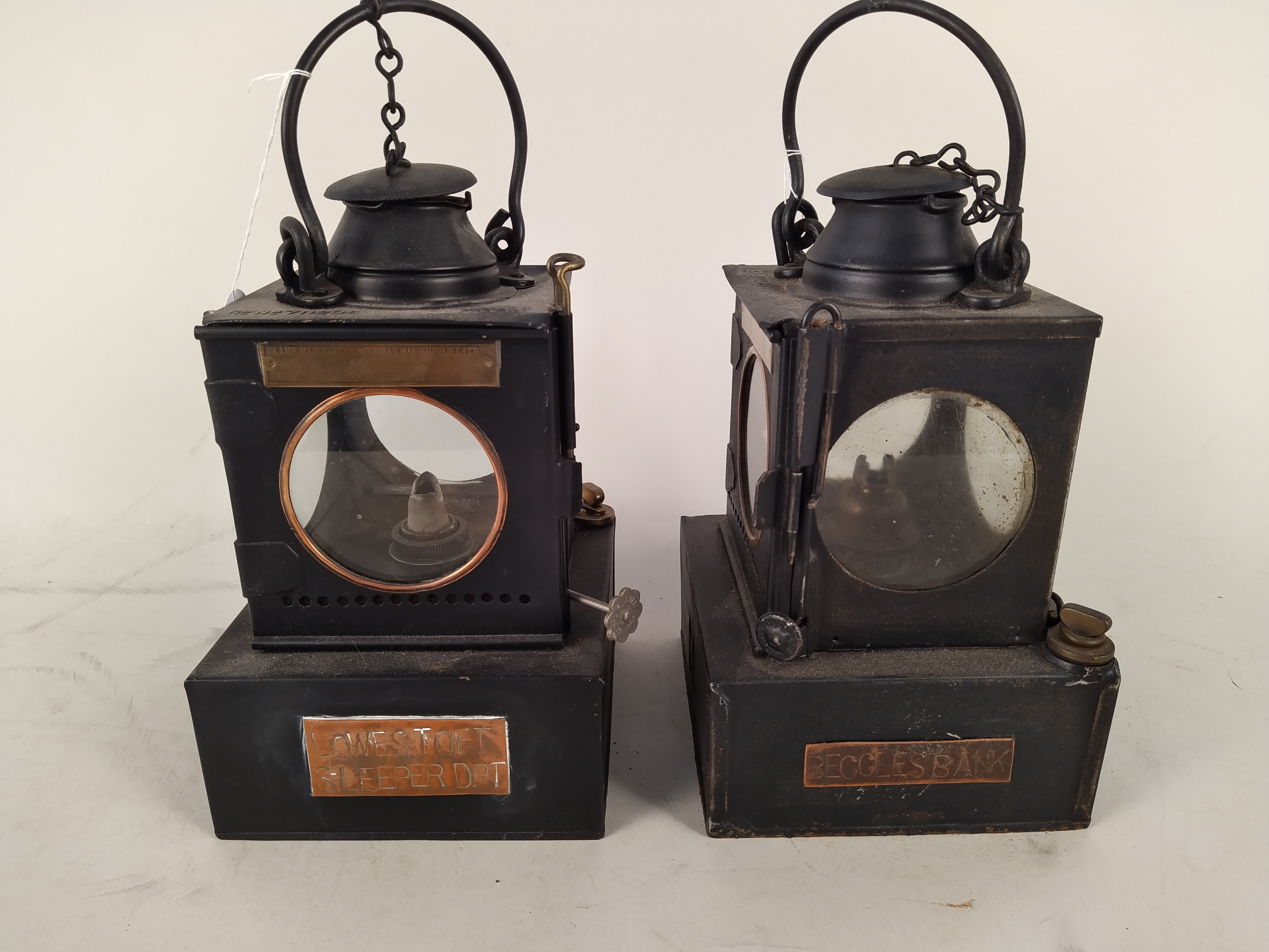 Two Welch patent early 20th Century railway lamps,