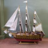 A scratch built galleon with engine and propeller