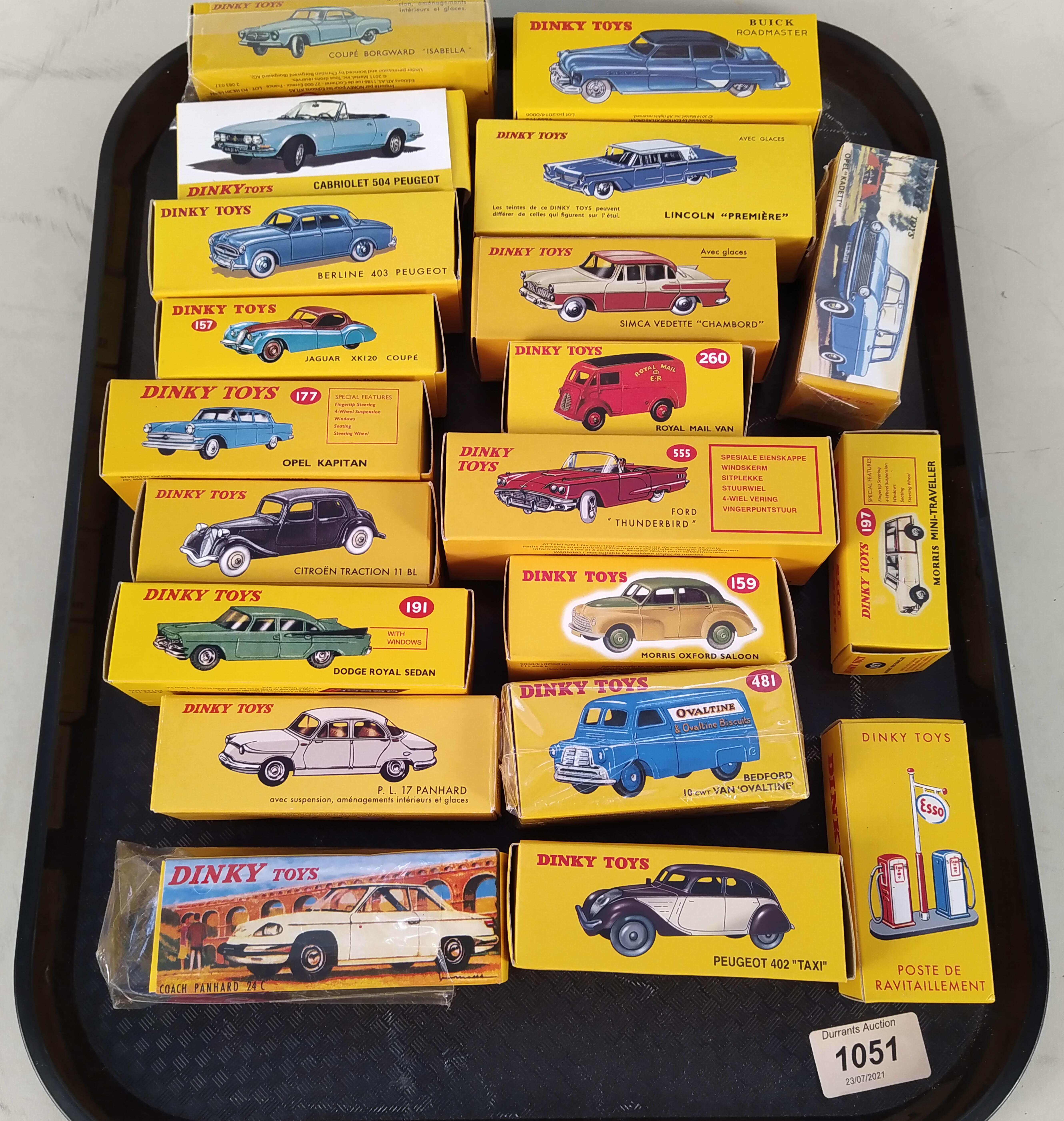 Approx nineteen boxed Dinky vehicles plus Esso petrol pumps,