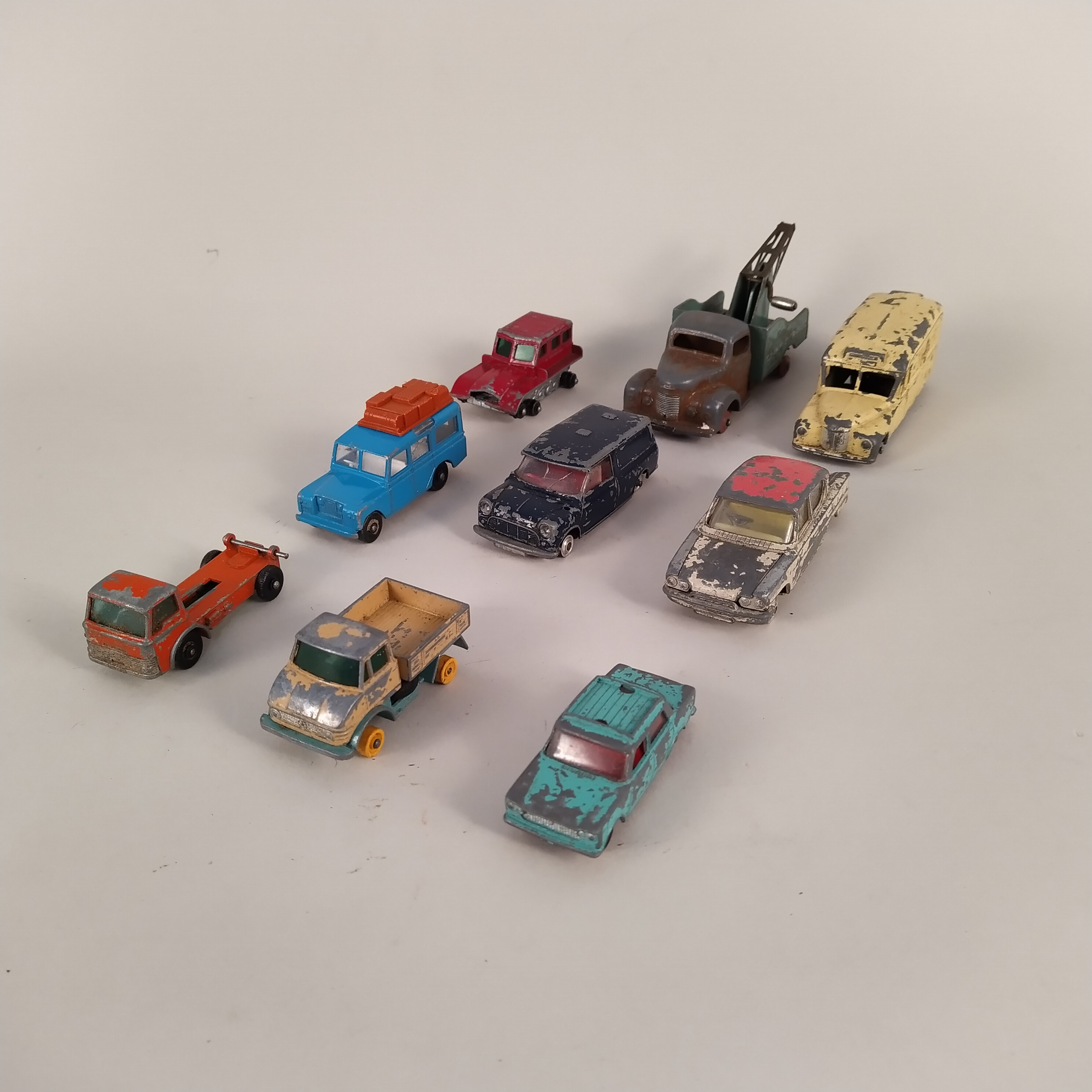 Vintage Dinky and Corgi toy cars (very playworn condition, some lacking wheels), - Image 2 of 3