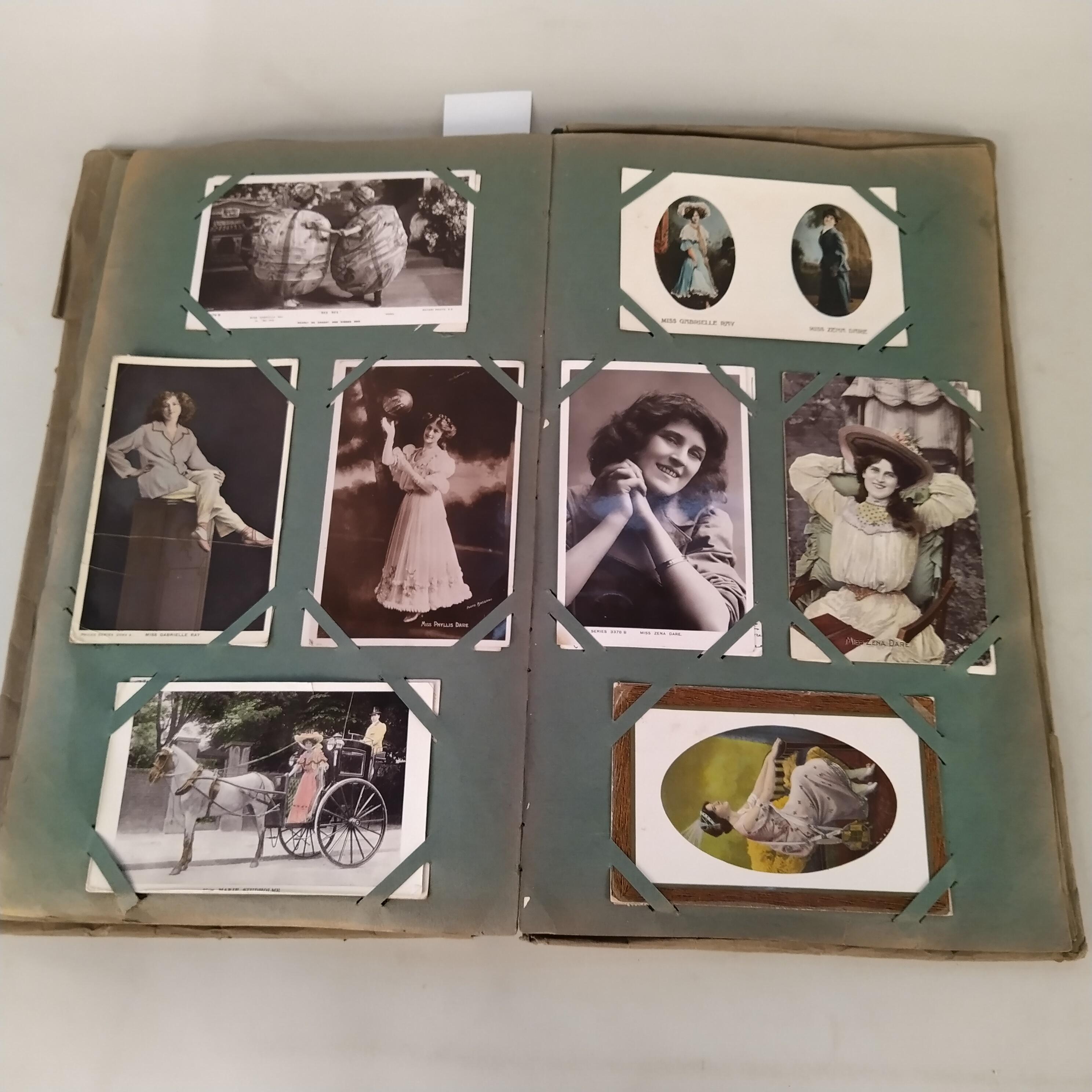 A vintage postcard album with many Edwardian era actresses,