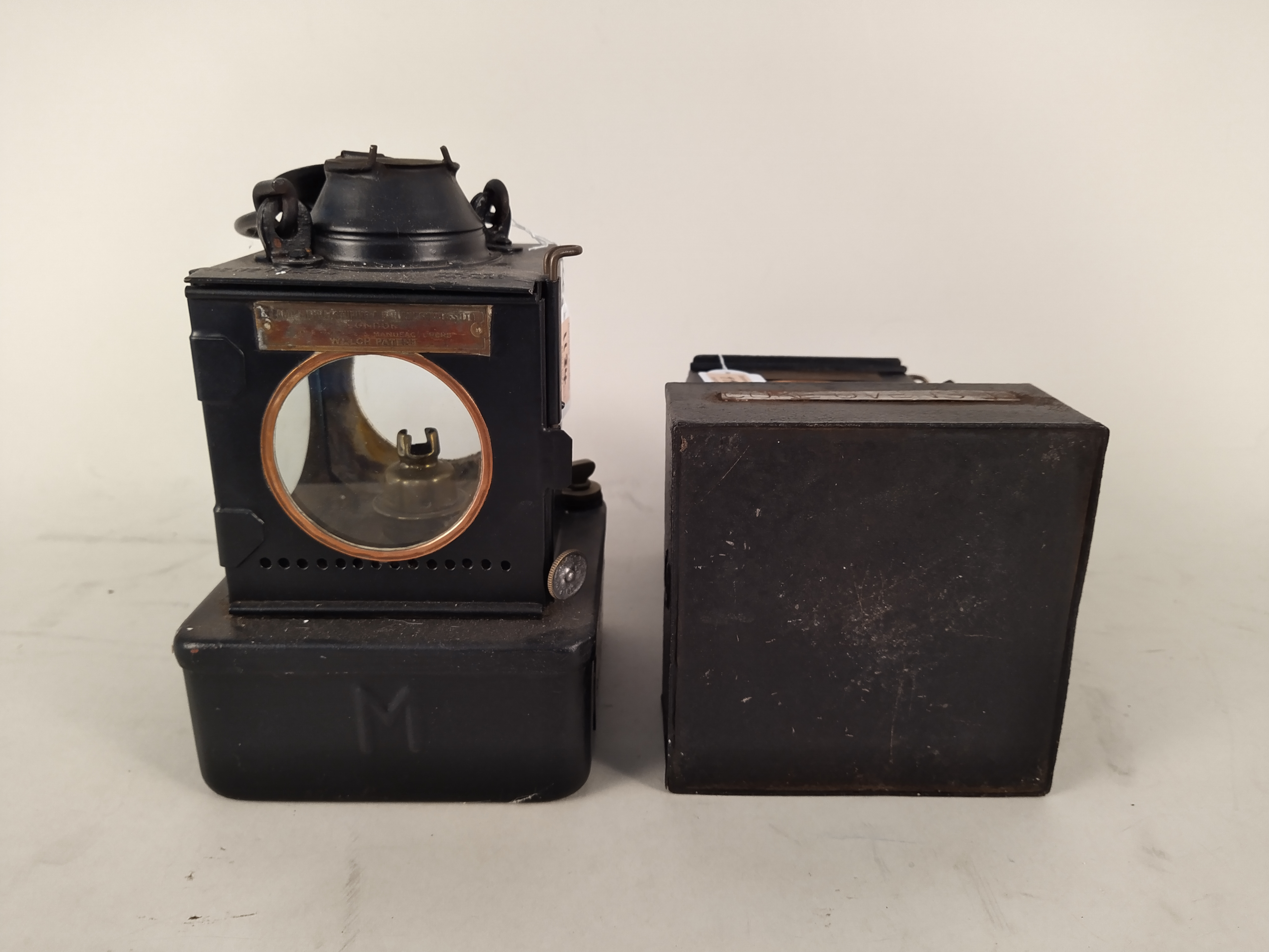 Two Welch patent early 20th Century railway lamps, one with plaque for Lowestoft North Station Box, - Image 3 of 3