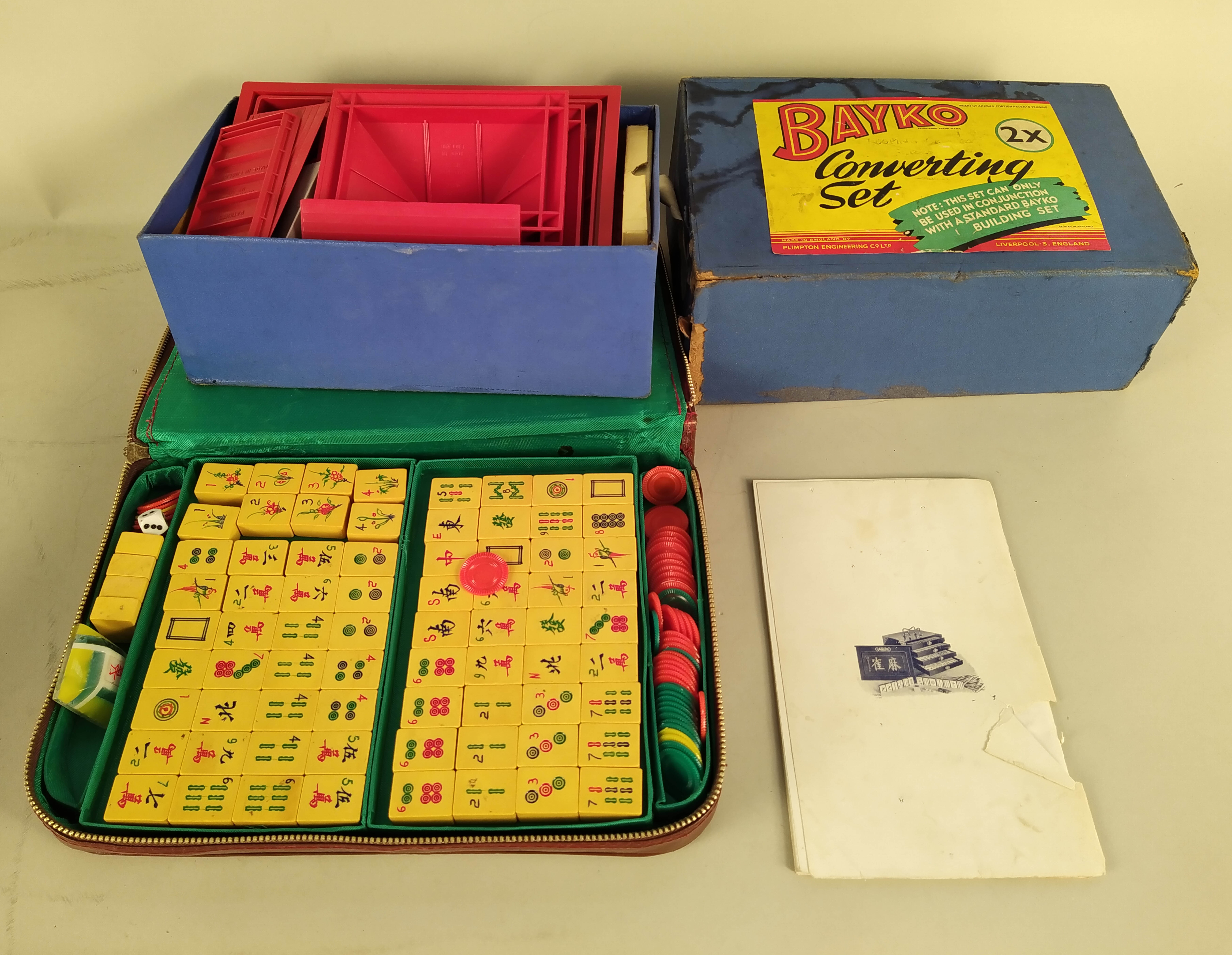 A vintage Totopoly game with board and two boxes of vintage 'Bayko' building sets plus a Mahjong