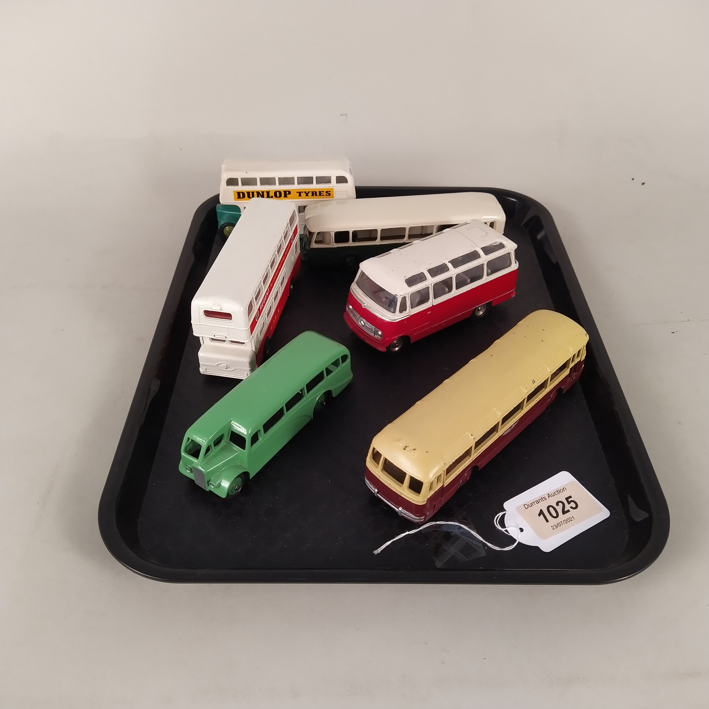 Six vintage Dinky buses and coaches (playworn condition)