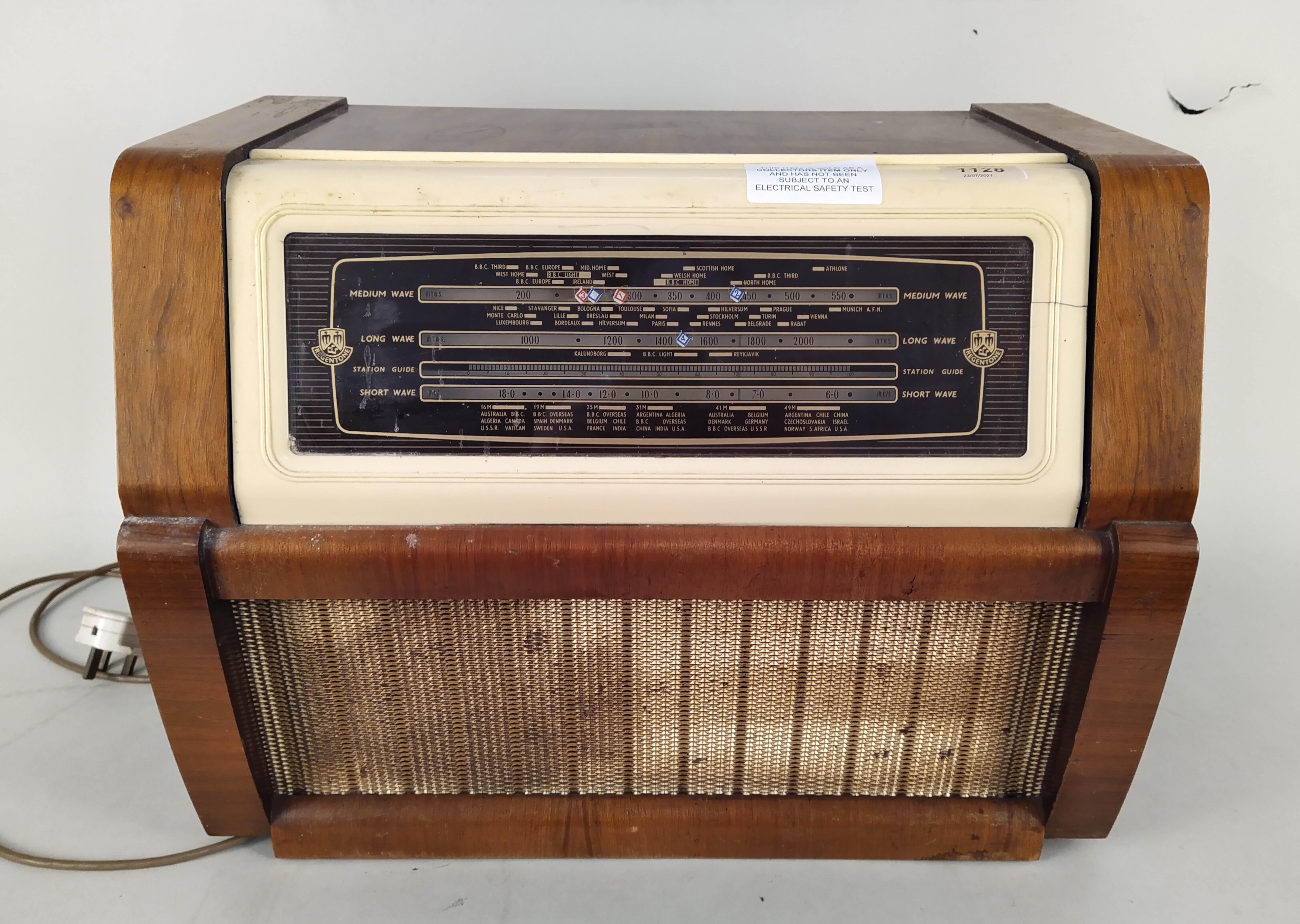 A large vintage 'Regentone' transistor radio