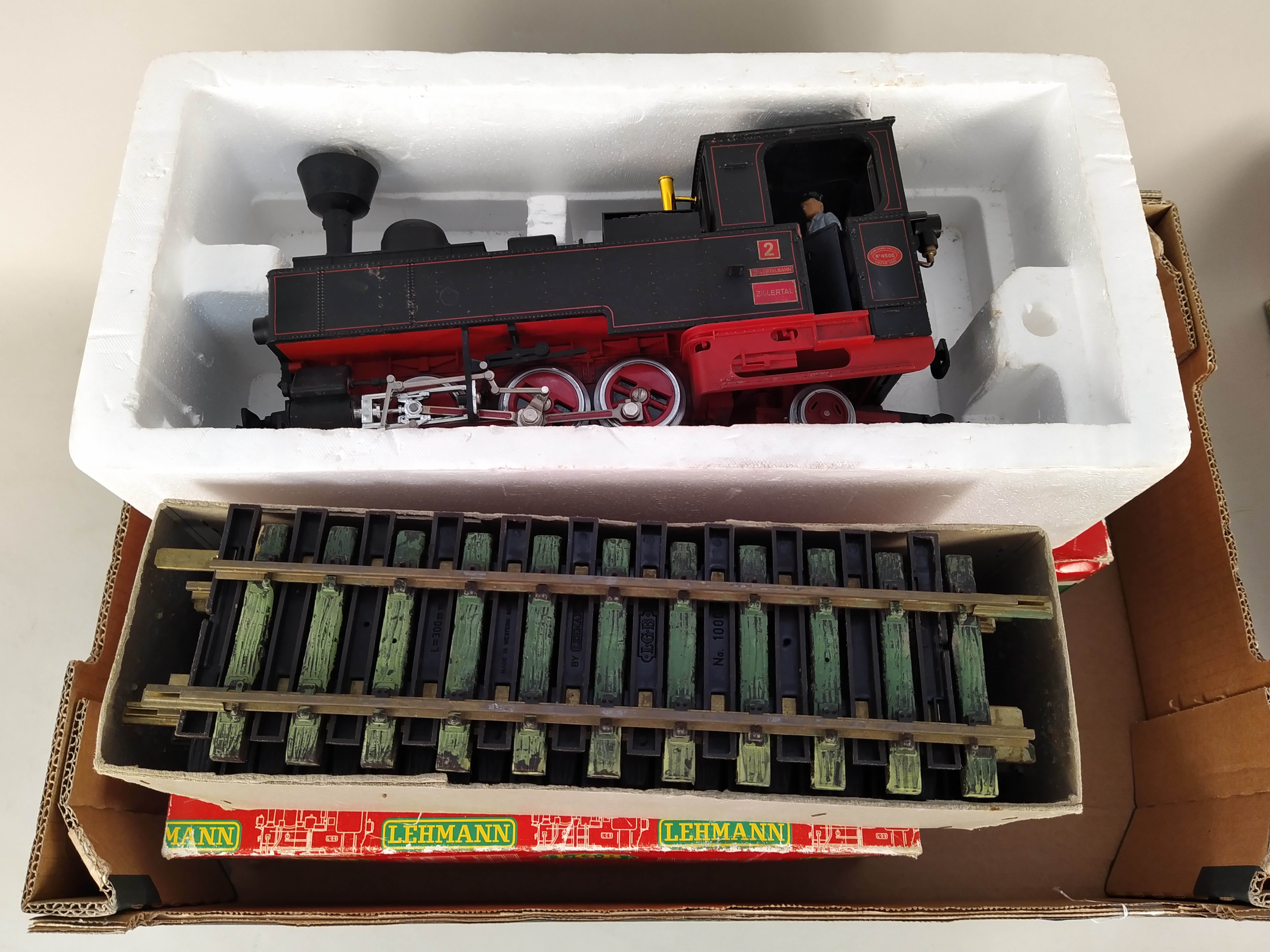 A LGB (Lehmann-Gross-Bahn) 2017D boxed engine, a boxed carriage 3010, an unboxed carriage, - Image 2 of 3