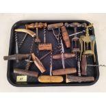 Approx sixteen antique corkscrews
